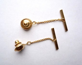 10 gold plated tie tack clutches with with chain and toggle