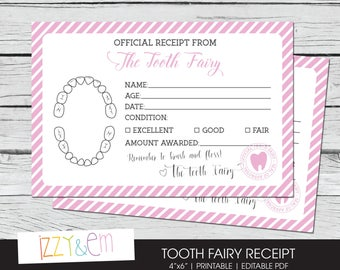 Tooth Fairy Receipt - Girls Tooth Fairy Note - Printable Tooth Fairy Report - Lost Tooth Record - Tooth Fairy Certificate - Instant Download
