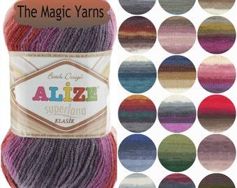 Alize Superlana Batik Classic yarn- DK yarn, wool, acrylic, wool blend yarn, batik color, multicolor yarn, knitting yarn