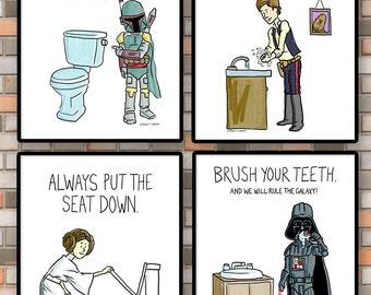 PRINTABLE Kids bathroom rules, Set of 4 Star Wars bathroom printables, Bathroom printable, Bathroom art, Kids art, Childrens bathroom art