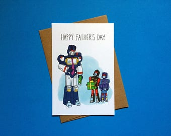 Father's Day Greeting Card, Transformers, Soundwave, Rumble, Frenzy, Funny Card, Humorous Card