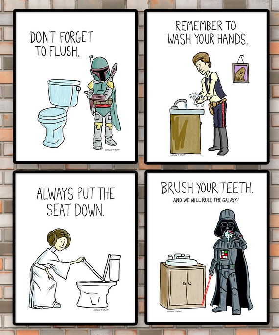 Printable Kids Bathroom Rules Set Of 4 Star Wars Bathroom