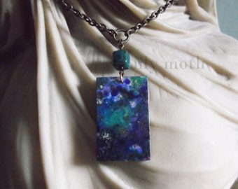Handmade Necklace with Decoupage Wooden Pendant and Vintage Bead