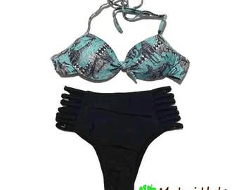 High Waisted Bikini - High Waisted Bathing Suit - Underwire bikini top -  Padded  Bikini top - Brazilian Bikini - Halter Bikini Top