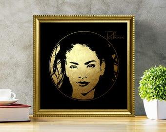 Rihanna in Gold - Rihanna - Rihanna Print - Rihanna Poster - Personalities Portraits - Rihanna art - Rihanna illustration - black and gold