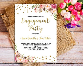 gold boho chic invitations, boho bride engagement party invite, bohemian bridal invitation, bohemian engagement invitation, peony floral
