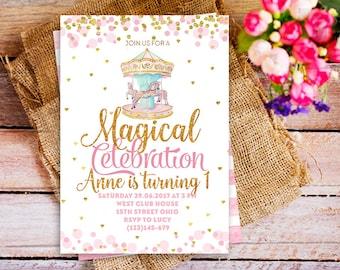 carousel first birthday invitation, gold and pink carousel birthday invitation, Vintage carousel invite, confetti glitter gold invite girl