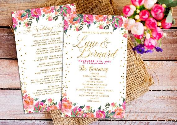 Floral Wedding Program Wedding program printable Bohemian