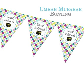 Umrah Mubarak Bunting, Decorations, Decor, Banners, Party Muslim Festival