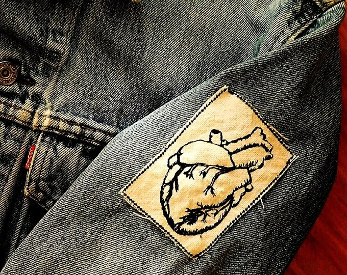 Embroidered Vintage Graphic Heart Upcycled Canvas Iron On Jacket Patch