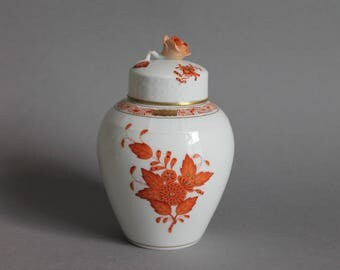 Herend Chinese Bouquet Rust Vase with Lid # 6460 AOG