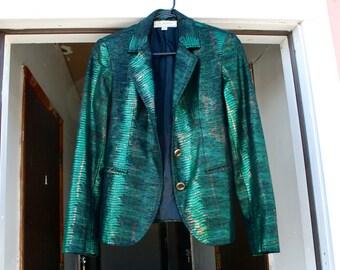 Vintage Green Black Gold Metallic Blazer Jacket S Small