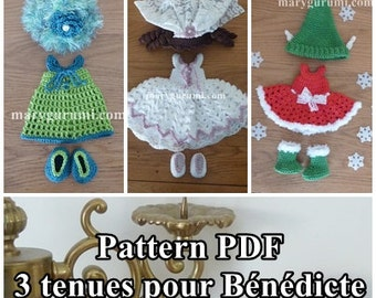 Crochet Pattern, pattern, tutorial, Amigurumi, dolls, 3 outfits for doll Bénédicte (Pack 9)