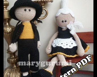 Crochet Pattern, pattern, tutorial, Amigurumi doll, a couple of Breton