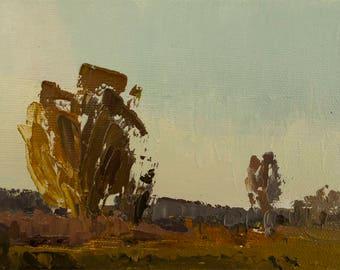 Last Light, Original plein air palette knife landscape painting on 4x6 canvas board.