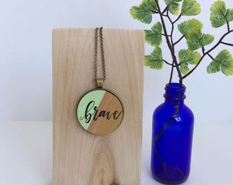 Handwriting Necklace / Brave Necklace / Calligraphy Necklace / Calligraphy Pendant / Real Handwriting Jewelry / Hand Lettered Pendant