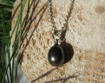 Sterling Silver Black Freshwater Pearl Necklace