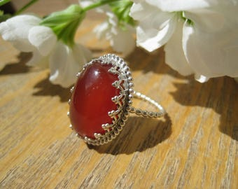 Carnelian and Sterling Silver Filigree Statement Ring