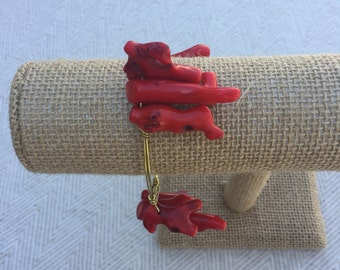 Red Coral Cluster Wire-Wrapped Bangle Bracelet: The Sea Witch