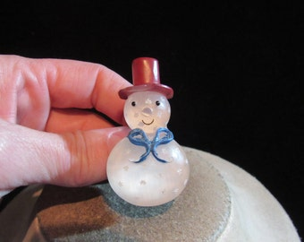 Vintage Christmas Clear Wooden Snowman Pin