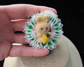 Vintage Easter Hand Made Lace Velvet Bunny Pin