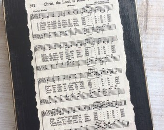 Christ the Lord is Risen Today Easter Vintage Hymn Sign Display