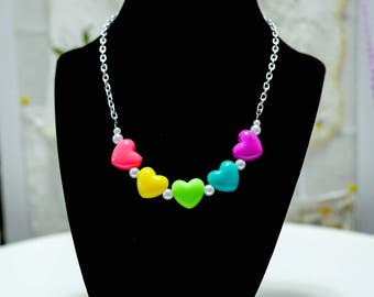 Neon Puffy Heart Necklace - So Kawaii !! J-fashion Decora Lolita Fairy Kei