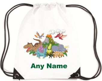 Personalised Childs DINOSAURS PE/Swim/School Bag