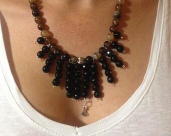 Gemstone necklace,  Gemstone beaded necklace , Onxy necklace, Agata necklace,   black necklace, Brown necklace, gift idea