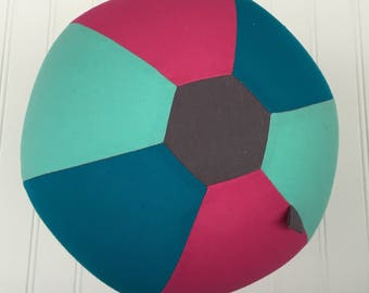 Fabric Balloon Ball Cover by PostalThreads, Turquoise & Red-Orange; perfect gift, easy to mail, bouncy, round, reusable, travel light. party