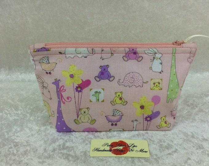 Nursery Animals Zip Case Bag Pouch fabric Handmade in England