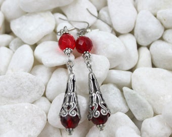 Vintage Red bead and silver Boho earrings