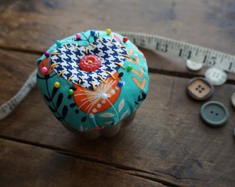 Teal and Navy Pincushion with heart in Vintage Jellow Mold Tin and Vintage Button Trim, Sewing Gift, Seamstress Gift
