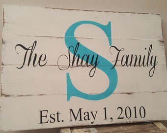 Family Name Monogram Handmade Cedar Wood Sign