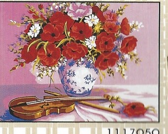 Collection d'Art-RED POPPIES FLOWERS-Violin-Needlepoint Canvas #1117050-Size-11.8 x 15.7-inch