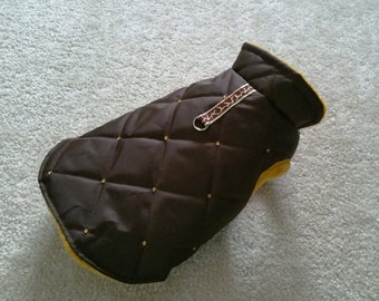 Small dog clothes puppy outfit Chihuahua clothes warm winter coat jacket Brown Crystal Harness XS