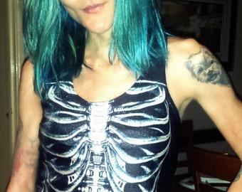 Skull singlet // Skull tank top // Skeleton clothing // Skull clothing // Alternative fashion