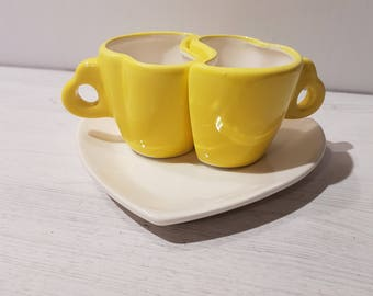 Couple/heart shaped coffee cups set-YELLOW