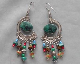 SALE - Vintage Malachite & Mixed Gemstone Dangling Pierced Earrings