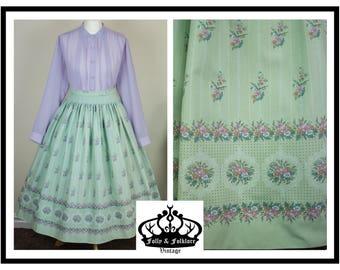 70s Folkloric Dirndl Skirt, Pastel Mint Green, Pink Florals, Tracht, Prairie Skirt, Size S