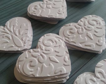 White hearts, Embossed hearts, Paper hearts, Heart punches, Heart die cuts, Heart confetti, Wedding hearts