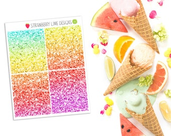 Glitter Headers Mini Sheet - Rainbow Ombre