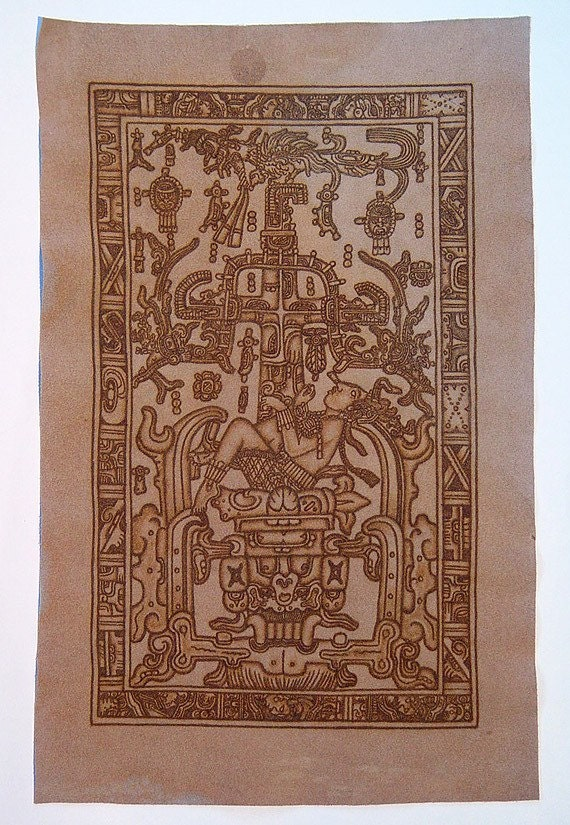 Vintage Mexican Hand-Burned Leather Suede Pyrography Mayan King Pakal The Great