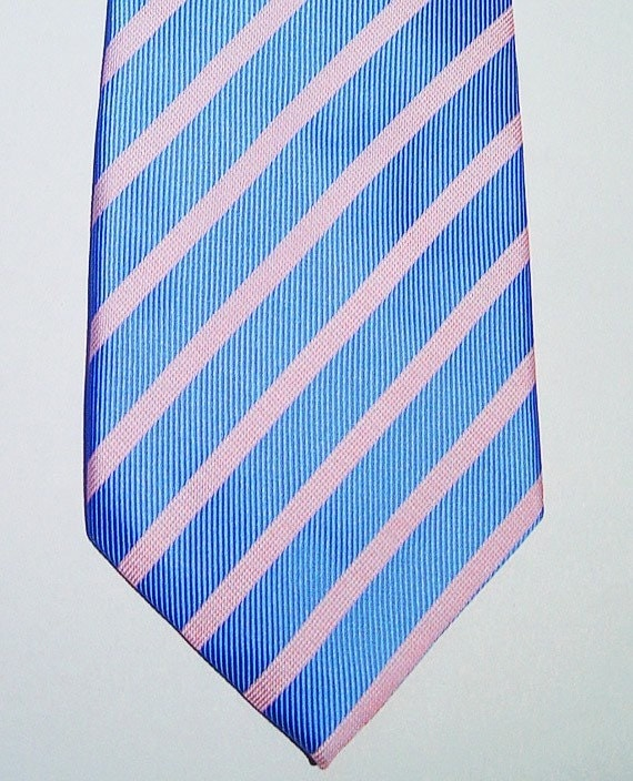 PAUL SMITH London Pink and Pale Blue Diagonal Stripe Silk Neck-Tie Made in Italy