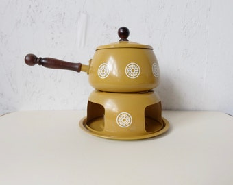Vintage Fondue Pot, Yellow Mustard,  Retro Home Kitchen, Party, Hostess Gift, 1970s, Flower Pattern
