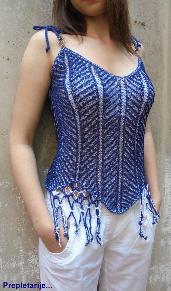 Brioche knitted summer top FishBone / Navy top