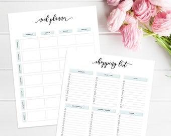 Meal Planner • Printable Meal Planner • Grocery List Printable • Weekly Meal Planner • Menu Plan • Shopping List Printable • US Letter • PDF