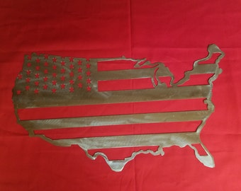 us flag-metal art-man cave metal art- garage sign metal art
