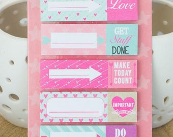 pages flags set differend designs, to do list, page markers, book markers, post its, sticky notes