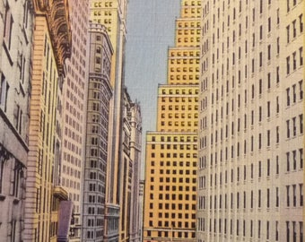 Wall Street 1940s retro view- framable print -  New York Business District, Hedge Funds, Stock Exchange,  many sizes - ready to gift